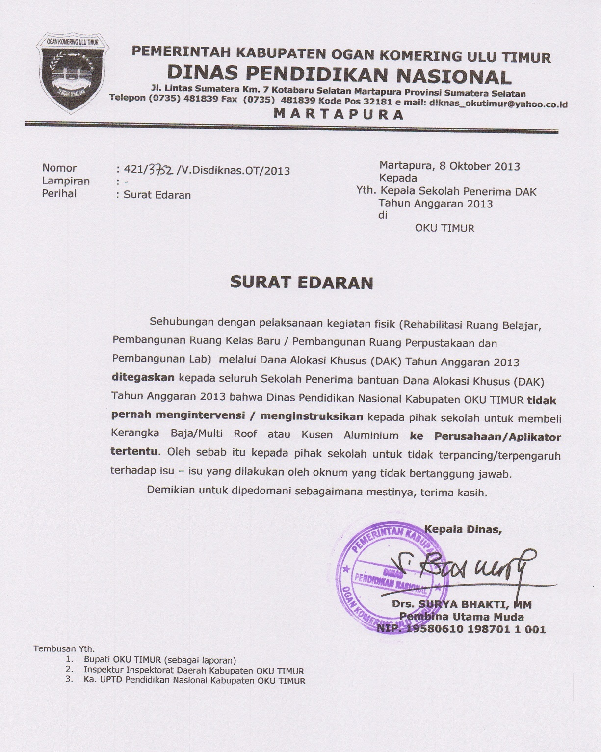Surat Edaran Penerima Dak Learning By Sharing