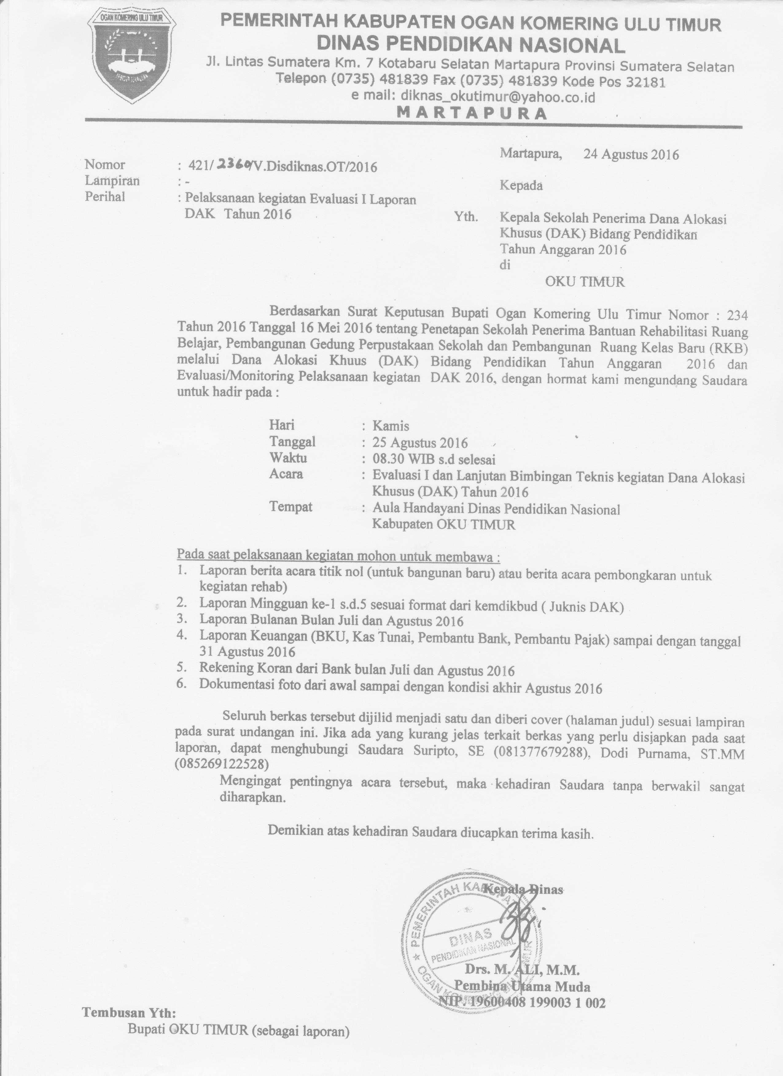 contoh surat undangan rapat dengan semi block style surat 25