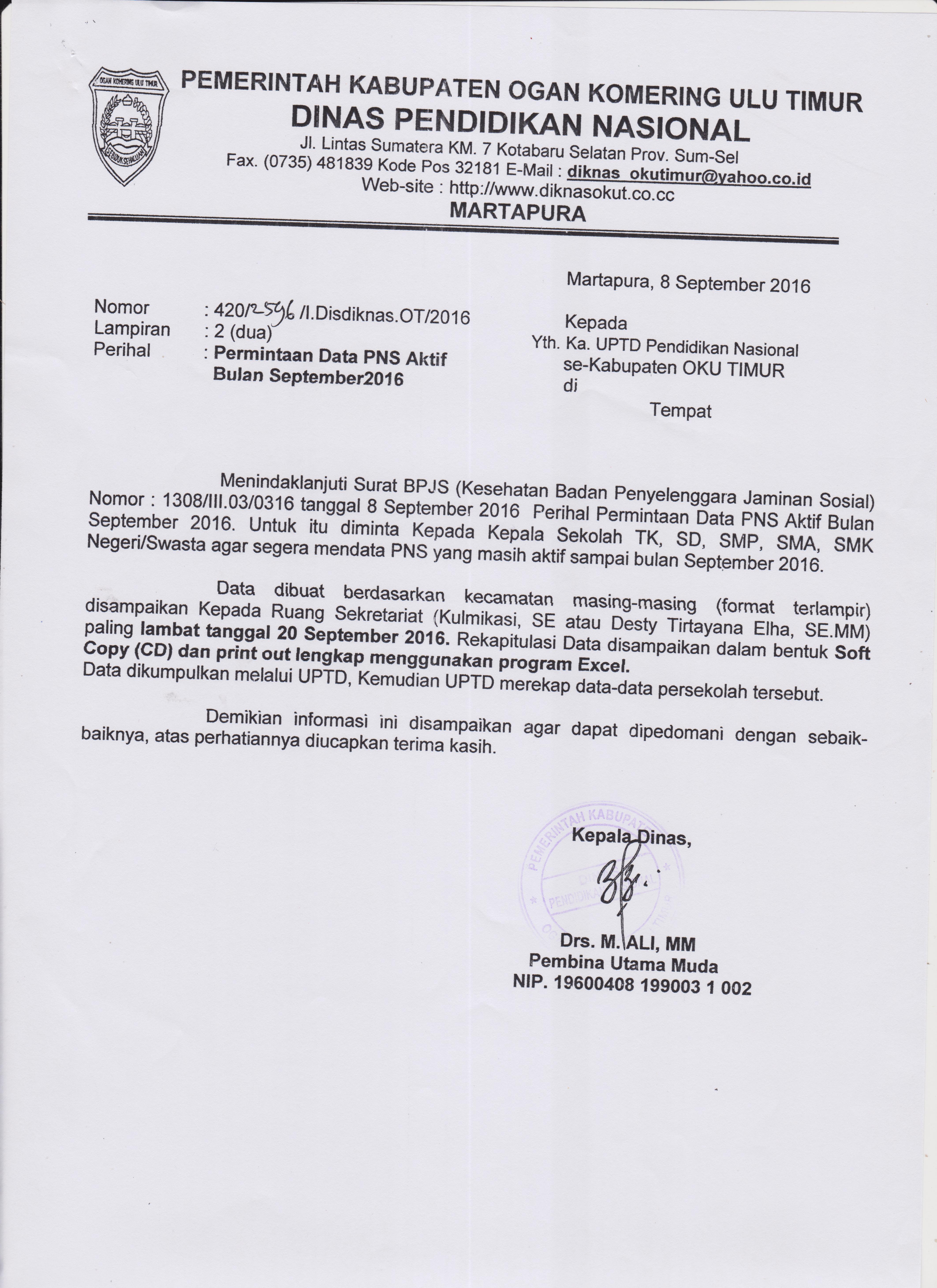 Permintaan Data Pns Aktif Bulan September 2016 Kelompok Kerja